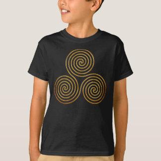 T-shirt spirale triple celtique - or antique d'OneLine