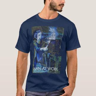 T-shirt Sport-tek Man at work Bleu marine
