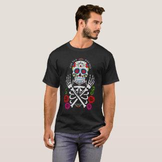 T-shirt Squelette avec le rose rouge