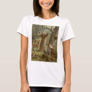 T-shirt St Francis d'Assisi a entouré par des animaux