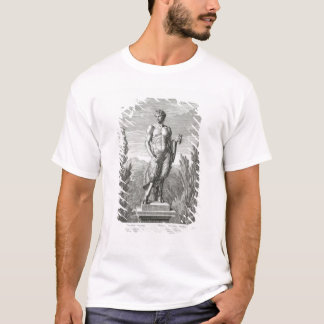 T-shirt Statue d'un satyre tenant un groupe de raisins,