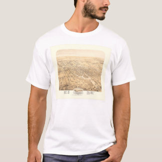 T-shirt Stockton, carte panoramique 1870 (1667A) de CA -