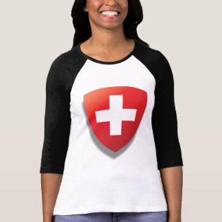 T-shirt suisse de thème. Bouclier et bande