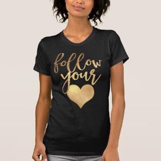 T-shirt Suivez votre or de coeur/Faux