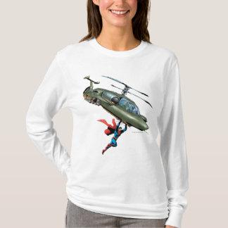 T-shirt Superman tient l'hélicoptère