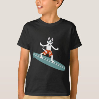 T-shirt Surfer de Longboard de chien de traîneau sibérien