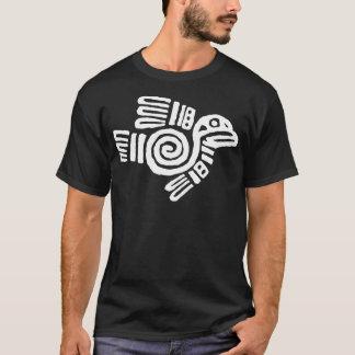 T-shirt Symbole aztèque blanc d'oiseau