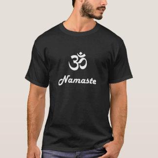 T-shirt Symbole de l'OM et Namaste - texte blanc sur le