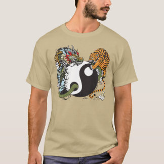 T-shirt symbole de yang de yin de dragon et de tigre