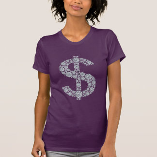 T-shirt Symbole dollar Bling de diamant