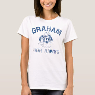 T-shirt T blanc des hautes femmes de faucons de Graham