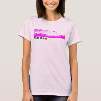 T-shirt T de montagne des femmes roses et roses de butte