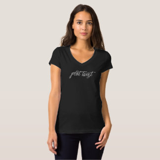 T-shirt T-shirt/noir de torsion de complot