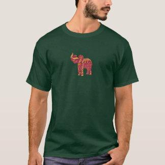 T-shirt T vert avec l'éléphant rouge