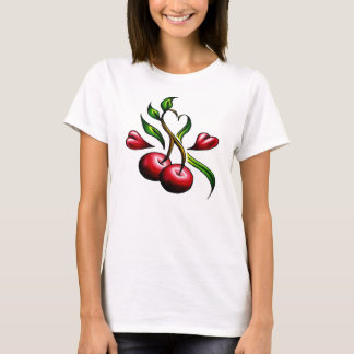 T-shirt Tatouage de coeurs de cerises de vieille école