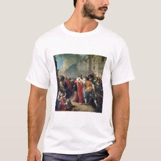 T-shirt Taupe de Mathieu arrêté par la foule parisienne o