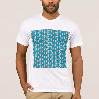 T-shirt Teal et modèle d'hippocampe de couleur de pêche