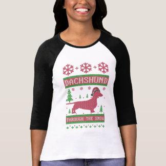 T-shirt Teckel par la neige