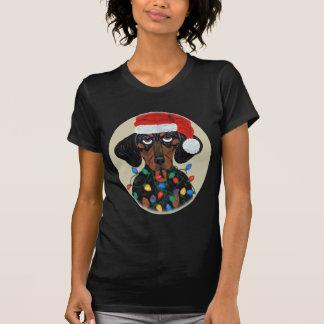 T-shirt Teckel Père Noël embrouillé dans des lumières de