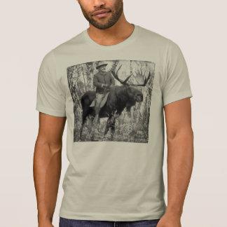T-shirt Teddy Roosevelt montant un orignal de Taureau