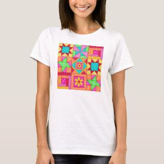 T-shirt Tee - shirt d'art de bloc d'édredon de patchwork