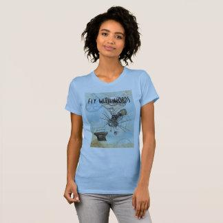 T-shirt Tee - shirt d'auteurs - mouche avec des mots