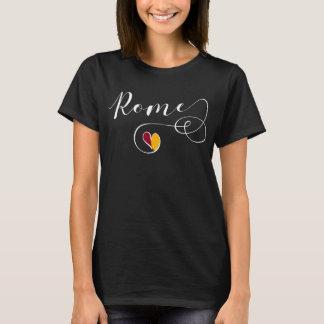 T-shirt Tee - shirt de coeur de Rome, Italie, drapeau
