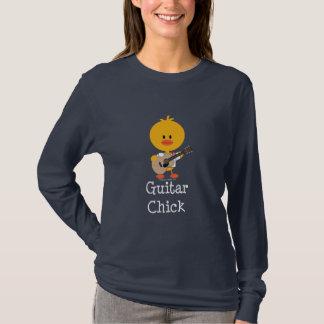 T-shirt Tee - shirt de douille de poussin de guitare long