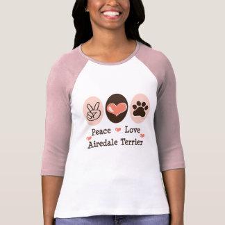 T-shirt Tee - shirt de raglan d'Airedale Terrier d'amour
