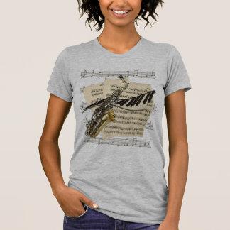 T-shirt Tee - shirt de saxophone et de musique de piano