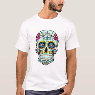 T-shirt Teinte florale de vert de crâne de sucre coloré