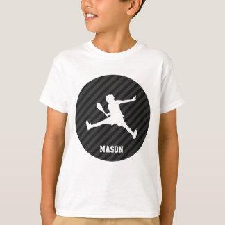 T-shirt Tennis ; Rayures noires et gris-foncé