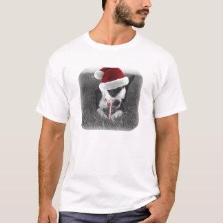 T-shirt terrier de Boston dans Noël de sucre de canne de