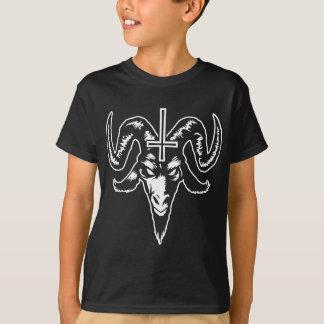 T-shirt Tête satanique de chèvre avec la croix (blanche)