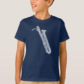T-shirt Texte de blanc d'art de mot formé par saxo de Bari