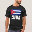 T-shirt Texte de blanc de drapeau du Cuba
