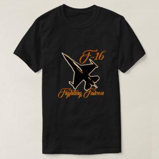 T-shirt Texte de combat d'orange de silhouette du faucon