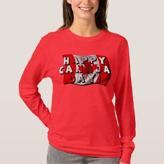 T-shirt Texte heureux de drapeau de jour du Canada avec le