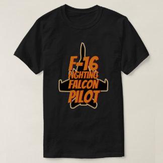 T-shirt Texte orange pilote de combat du faucon F-16