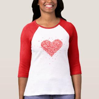 T-shirt Texture rouge de parties scintillantes de Faux de