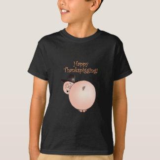 T-shirt Thanksgiving drôle de porc de bande dessinée de