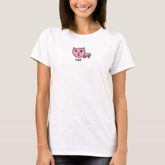 T-shirt tiré par la main du chat des femmes