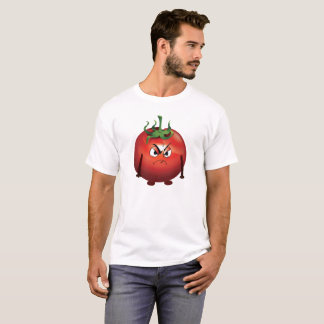 T-shirt Tomate rouge grincheuse sur l'arrière - plan blanc