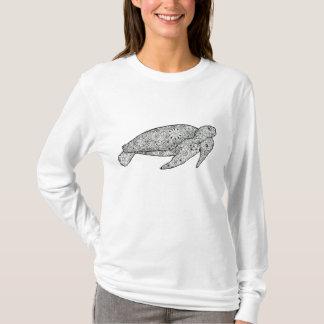 T-shirt Tortue de mer florale Artsy illustrée par main