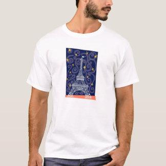 T-shirt Tour Eiffel avec des étoiles et des remous