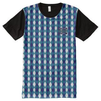 T-shirt Tout Imprimé Chemise moderne Bleu-Blanche de diamant snob