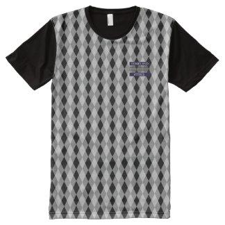 T-shirt Tout Imprimé Chemise moderne de diamant blanc noir intelligent