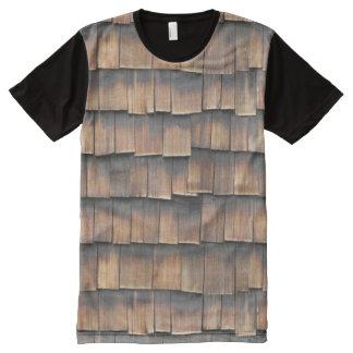T-shirt Tout Imprimé Cool, bardeaux en bois âgés par Brown originaux de