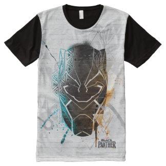 T-shirt Tout Imprimé Double art noir de rue de panthères de la panthère