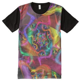 T-shirt Tout Imprimé Fractale fine abstraite psychédélique de la danse